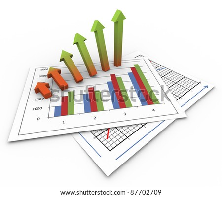 3d render of growing arrows on business charts - stock photo