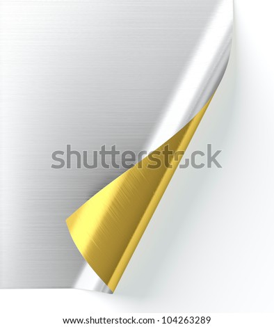 3D render of half silver and half gold curled paper - stock photo