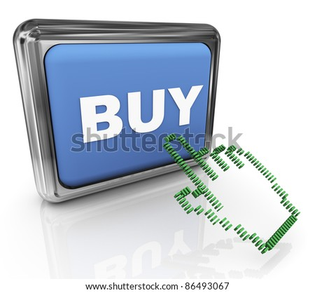 3d render of hand cursor pointer and reflective shiny online buy button - stock photo