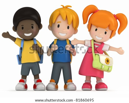 3D Render of Happy School Kids - stock photo