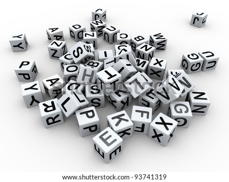3d render of heap of alphabets boxes - stock photo