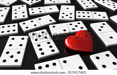 3d render of heart and domino blocks - stock photo