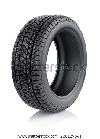 3d render of high detaled winter tyre with metal spikes isolated on white background - stock photo