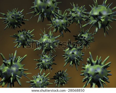 3D render of highly dangerous virusses - stock photo