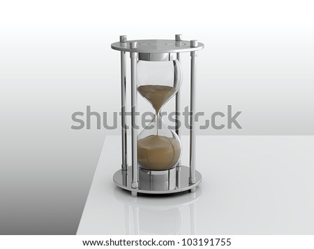 3D render of hourglass on white table - stock photo