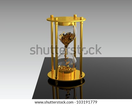 3D render of hourglass with golden coins on black table - stock photo