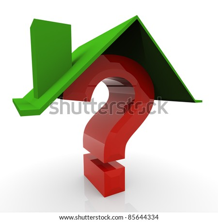 3d render of house and question mark - stock photo