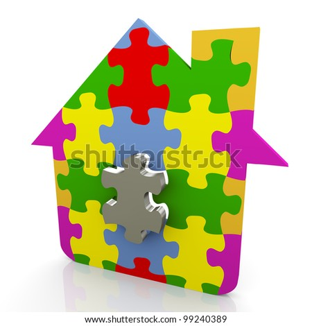 3d render of house made of puzzle pieces