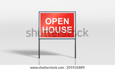 3d render of house signage stands open house - stock photo
