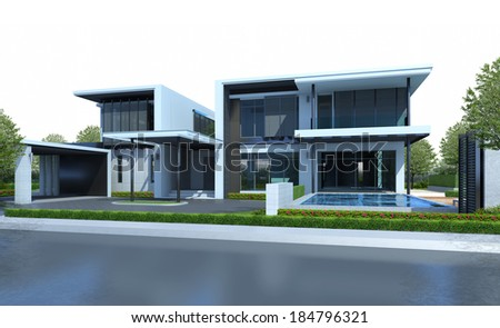 3D render of house with green area isolated on white background - stock photo