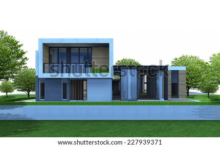 3D render of house with tree and green area on white background. - stock photo