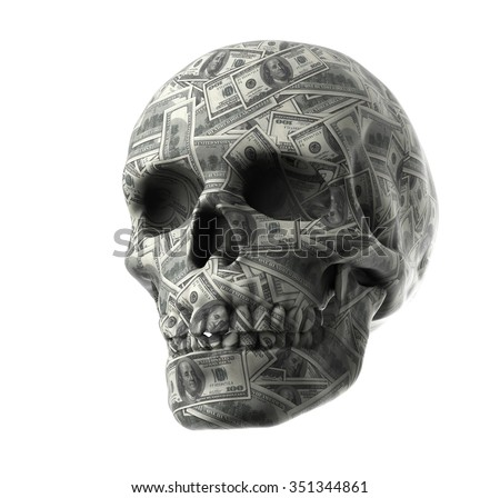 3d render of  Human skull on white background with clipping path represent financial 