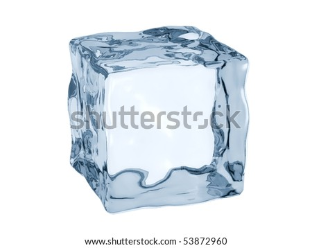 3D render of ice cube. - stock photo