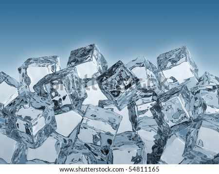3D render of ice cubes. - stock photo