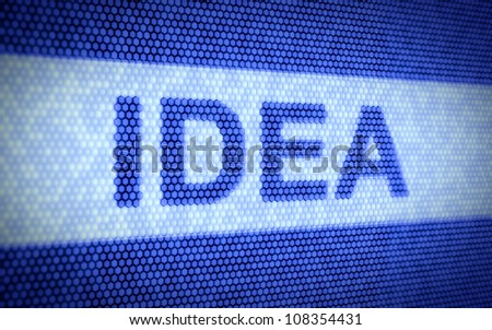 3d render of idea concept on blue screen - stock photo