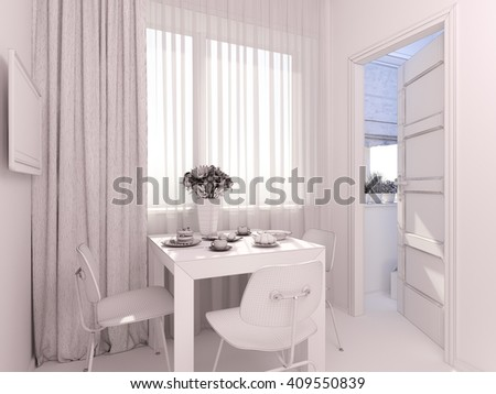 3D render of interior design kitchen in a studio apartment in a modern minimalist style. The illustration shows a table near a window and a small storage room in polygonal mesh