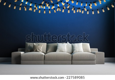 3d render of interior with garland of retro bulbs - stock photo