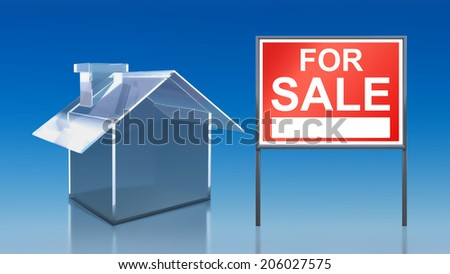 3d render of investment blue glass house for sale - stock photo
