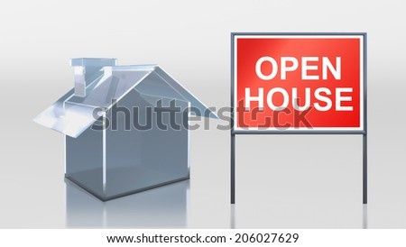 3d render of investment glass house open house - stock photo