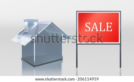 3d render of investment glass house sale  - stock photo