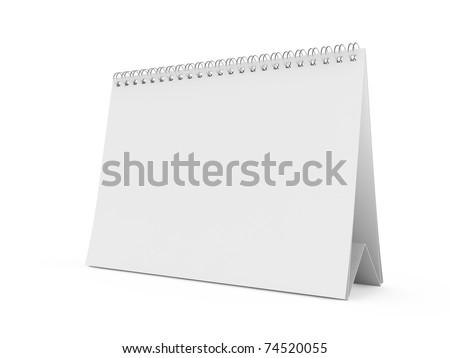 3d render of isolated blank white calendar - stock photo