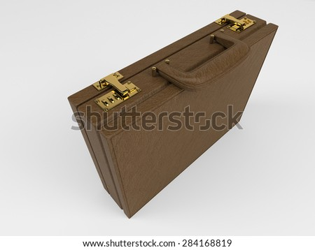 3D Render of Isolated Briefcase on white - stock photo
