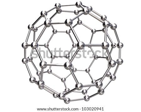 3d Render of Isolated C60 Buckyball - stock photo