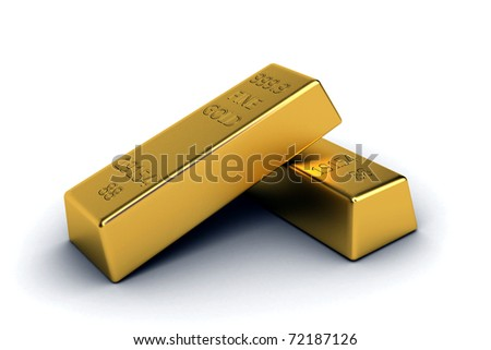 3d render of isolated gold bar - stock photo