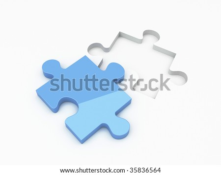 3d Render Of Isolated Jigsaw Puzzle - stock photo
