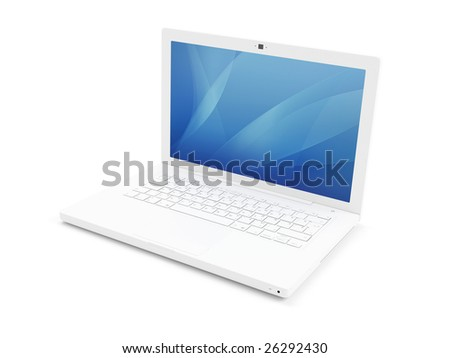 3d render of isolated white laptop - stock photo