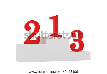 3d render of isolated winning pedestal with digits