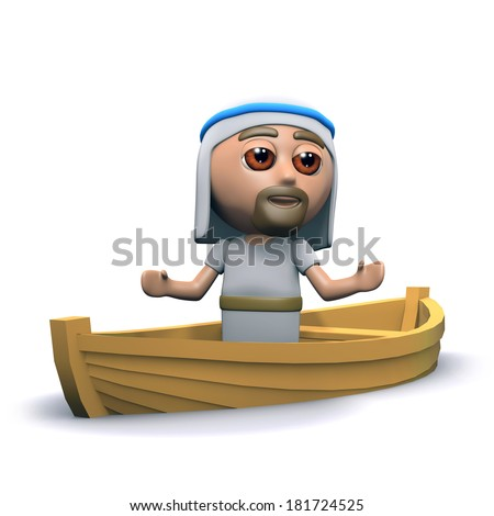 3d render of Jesus in a small fishing boat - stock photo