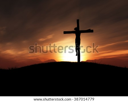 3D render of jesus on the cross at sunset