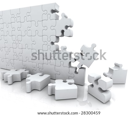 3D RENDER OF JIGSAW PUZZLE