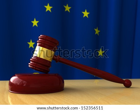 3d render of judge hammer on EU flag background - stock photo