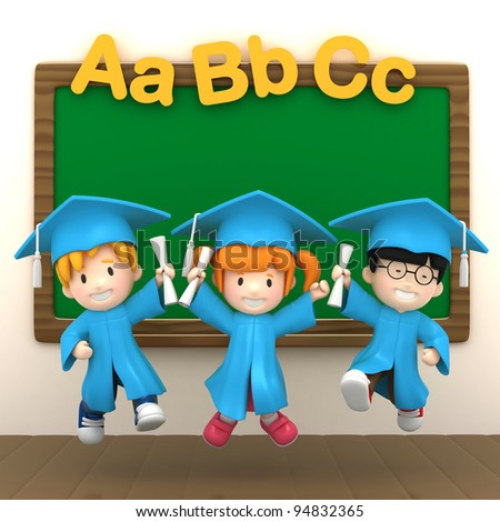 3D render of jumping kids and black board - stock photo