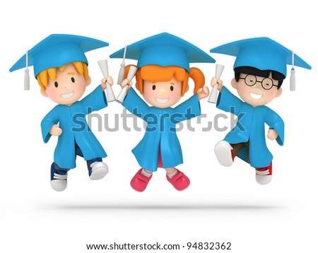 3D render of jumping kids with dilpoma - stock photo