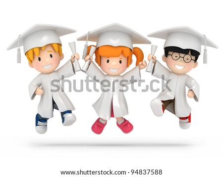 3D render of jumping kids with diploma - stock photo