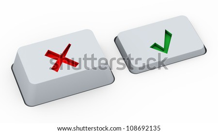3d render of keyboard buttons with yes and no symbols - stock photo