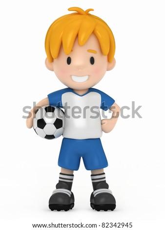 3D Render of Kid holding Soccer Ball - stock photo