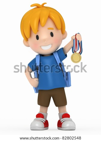 3D Render of Kid with Gold Medal - stock photo