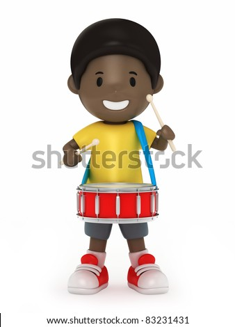 3D Render of Kid with snare drum - stock photo