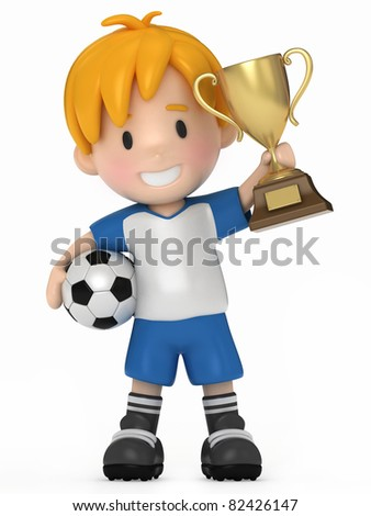 3D Render of Kid with Soccer ball and Trophy - stock photo