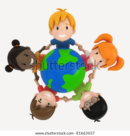 3D Render of Kids and Earth - stock photo