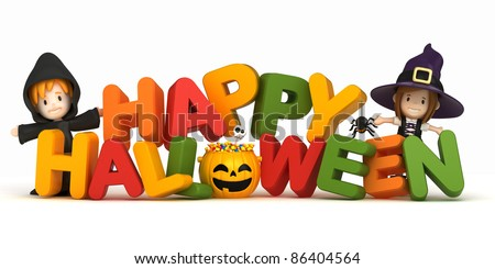 3D render of kids in halloween costume and word - stock photo