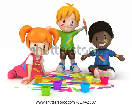 3D Render of Kids Painting - stock photo