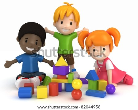 3D Render of kids Playing Building Blocks - stock photo
