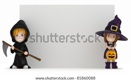 3D render of kids wearing halloween costumes - stock photo