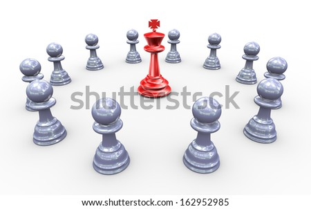 3d render of king chess peaces surround by followers
