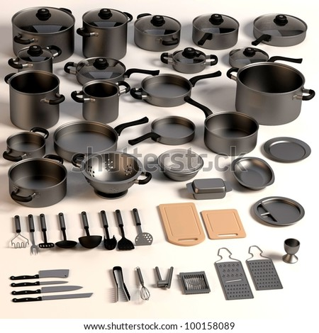 3d render of kitchen dishes - stock photo